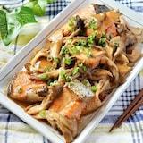 こってりご飯がススム♪鮭と舞茸の味噌マヨ焼き