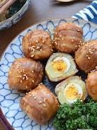 焼くまで3分♡味付け1つ♡うずらの卵in肉巻きポテト♡