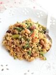 豆とアスパラ&ブロッコリーのマヨ炒飯