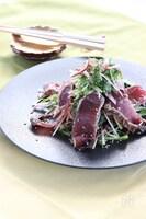 カツオのたたきと水菜の香味サラダ