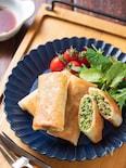 豆苗と塩昆布の春巻き【#作り置き#お弁当#包丁不要】