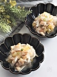 サラダチキンと焼き茄子と新玉ねぎのナンプラー和え