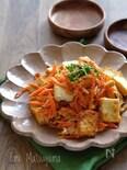 にんじんと絹厚揚げとツナのスタミナマヨ卵炒め