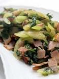 セロリ葉とベーコン炒め