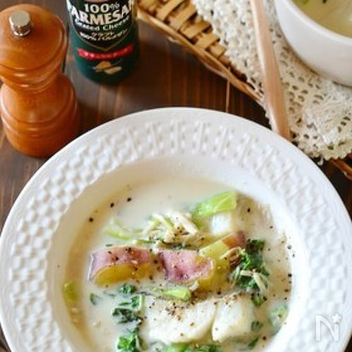 タラとチンゲン菜の食べる豆乳スープ鍋