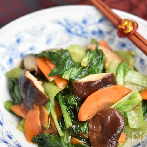 チンゲン菜と椎茸のとろみ炒め