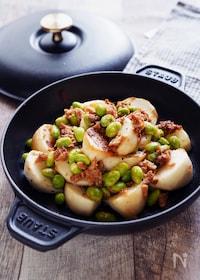 『【10分】食欲そそるガーリック風味!かぶと枝豆のツナマヨ炒め』