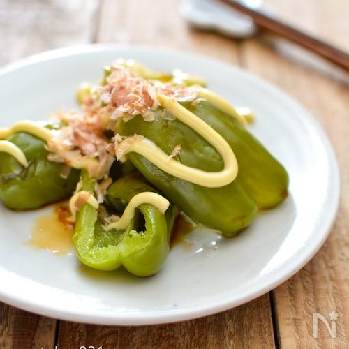 レンジピーマン。マヨ醤油おかか味。簡単おかず、野菜おつまみ♪