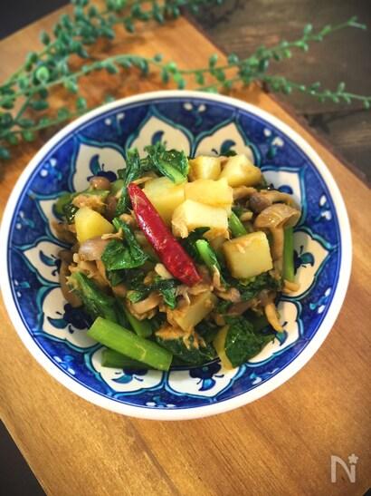 小松菜とジャガイモのサブジ(インド風炒め)