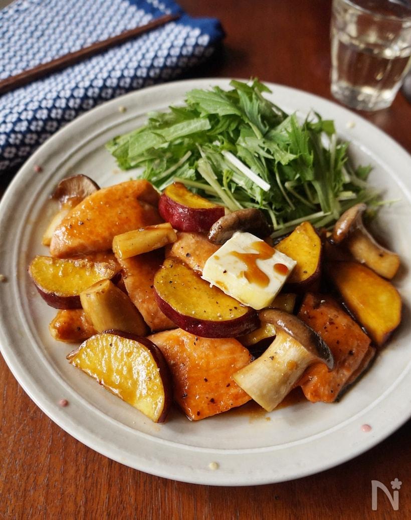 秋鮭とサツマイモの照り焼きバター風味