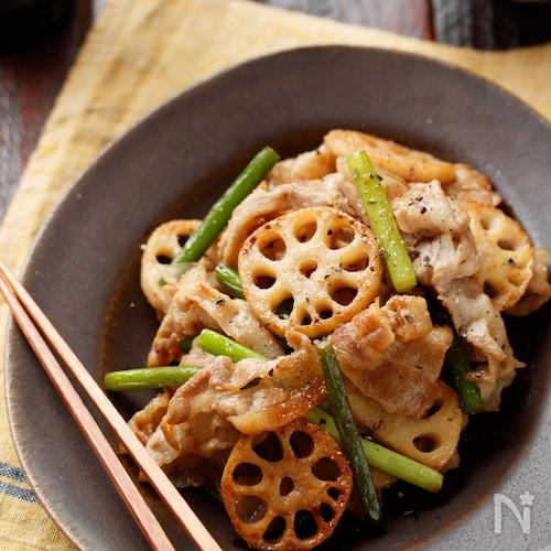 豚肉とれんこんの甘辛ガーリック炒め【#作り置き#冷凍保存】