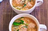 えのき鶏団子とニラもやしのかき玉スープ