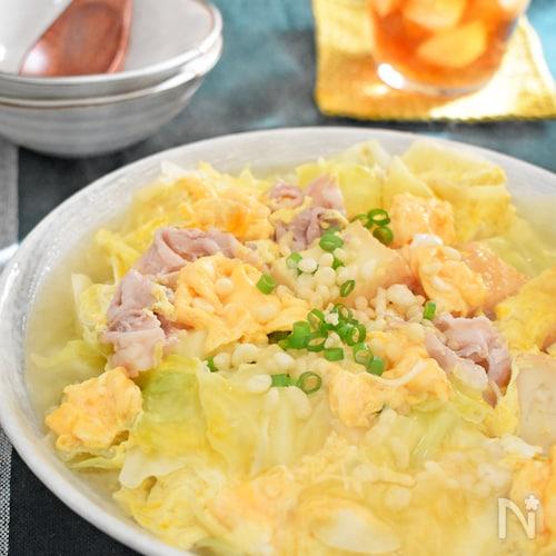 キャベツと厚揚げの卵とじ