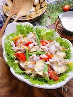 『さつま芋と蒸し豚のサラダ』~和風胡麻クリームドレッシング~