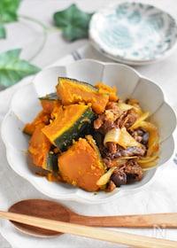 『肉かぼちゃ*簡単!じわる和の煮物でほっこり〜♡』