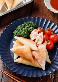 『はんぺんとベーコンチーズの三角春巻き【#冷凍保存#お弁当】』