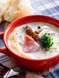鮭クリームのスープパスタ