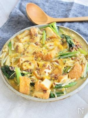 簡単コスパ良し♪厚揚げとそぼろの野菜たっぷり卵とじ