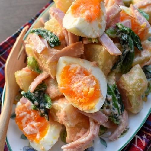 明太マヨ♡むっちゃ旨し♡半熟卵とじゃが芋の明太マヨサラダ♡