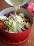 あとがけ★山盛りチーズのアンチョビソース鍋