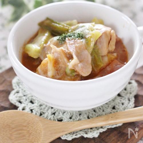トマトの水煮を使わなくても作れる、鶏肉とキャベツの簡単スープ