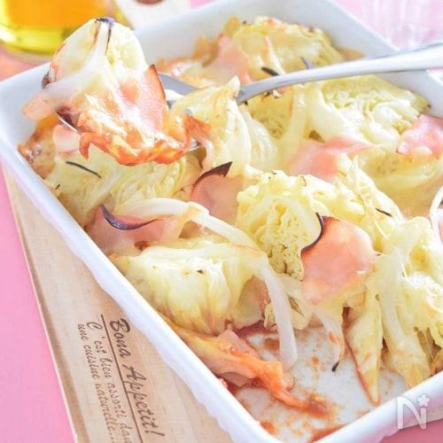 蒸しキャベツとハムのトマトピューレグラタン 余り野菜有効活用