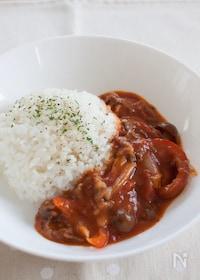 『トマト缶で作る、ビーフストロガノフ』
