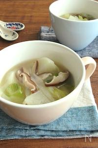 ほっこり簡単♪かぶとしいたけのねぎ生姜スープ