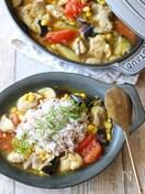鶏と夏野菜のカレー冷や汁風。