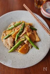 アスパラガスと豚バラ肉の甘辛中華炒め