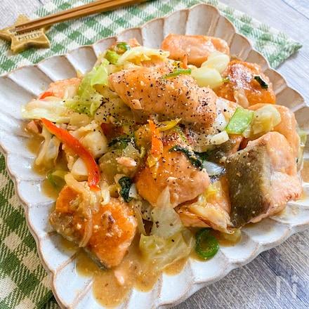 白米に合う~♪秋鮭と野菜の味噌バター炒め★