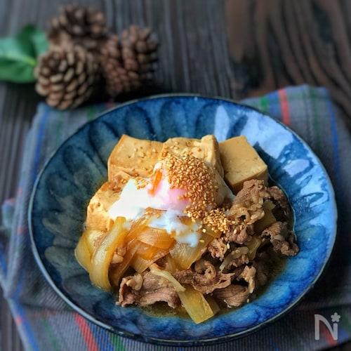 *我が家の肉豆腐〜ほんのり韓国風〜温玉乗せ*