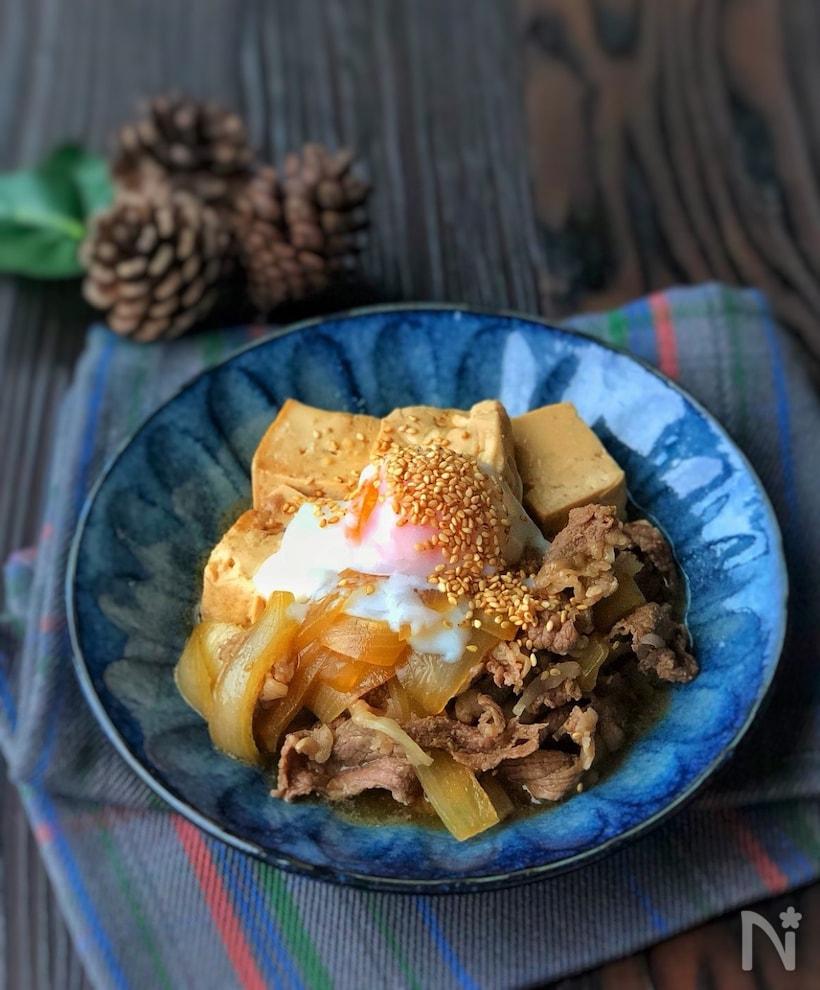 韓国風温玉のせ肉豆腐