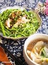 《 万能ニラだれ 》10分ご飯*豚しゃぶ&茹で汁で野菜スープ