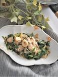 牡蠣とほうれん草のペペロンチーノ