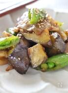 豚バラ肉とスナップえんどう、ナスのコチュジャン炒め