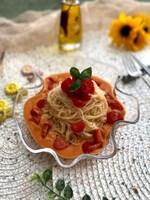 豆乳トマトスープでトマトたっぷりそうめん