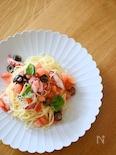 タコとオリーブ、フレッシュトマトの冷製パスタ