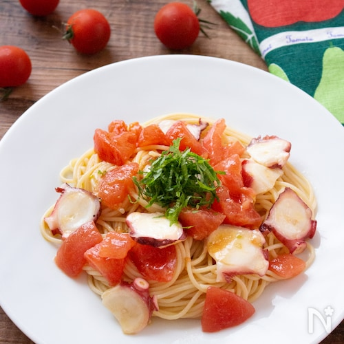 【おうちランチ】夏にピッタリ!たことトマトの冷たいパスタ