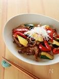 甘辛☆ラム肉と夏野菜のオイスターソース炒め