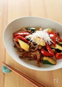 『甘辛☆ラム肉と夏野菜のオイスターソース炒め』