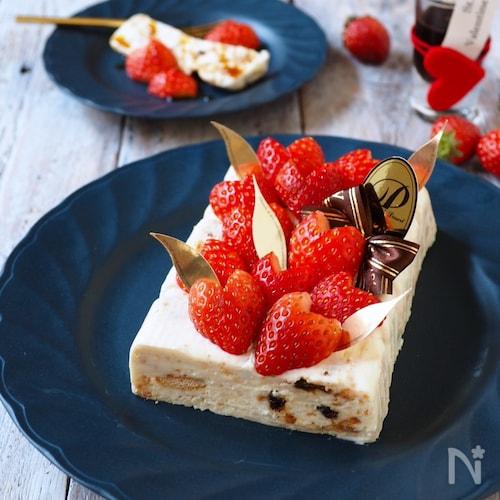 型不要!市販のアレで簡単ラムレーズンレアチーズケーキ