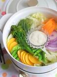 温かいリースサラダ(豆腐のディップソースレシピ)