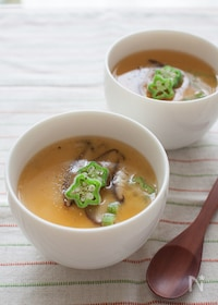 『オクラと長芋の冷製あんかけ茶碗蒸し』