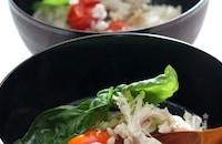 プチトマトの黒胡椒ごはん鶏ささ身のスープがけ