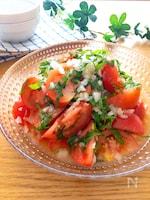 ノンオイル♡トマトと新玉ねぎのさっぱり生姜白だし和え