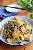ごはんが進む♡豆腐と高菜と豚肉の卵とじ