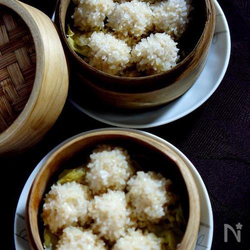 筍と鶏ひき肉の珍珠丸子(もち米焼売)