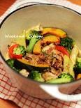 チキンと彩り野菜のホットサラダ バルサミコソース