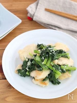 鶏むね肉と小松菜のねぎ塩炒め